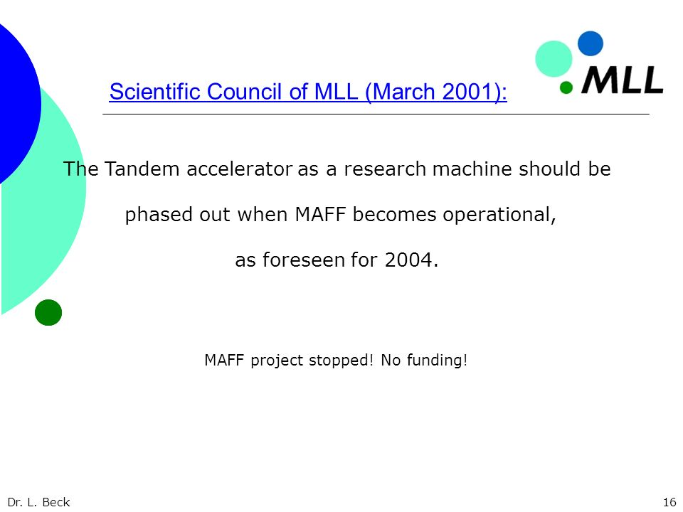 Dr. L. Beck16 Scientific Council of MLL (March 2001): The Tandem accelerator as a research machine should be phased out when MAFF becomes operational,