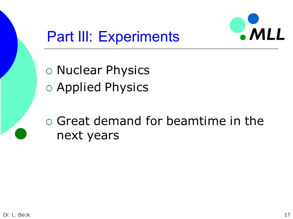 Dr. L. Beck17 Part III: Experiments Nuclear Physics Applied Physics Great demand for beamtime in the next years