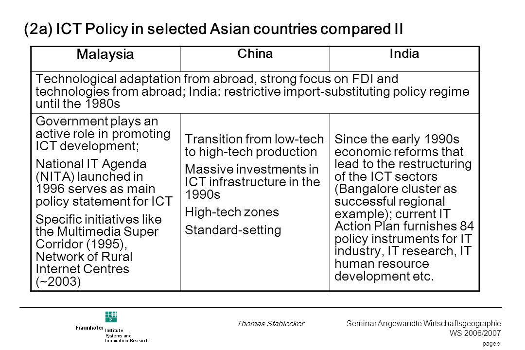 page 9 Thomas Stahlecker Seminar Angewandte Wirtschaftsgeographie WS 2006/2007 (2a) ICT Policy in selected Asian countries compared II Malaysia ChinaIndia Technological adaptation from abroad, strong focus on FDI and technologies from abroad; India: restrictive import-substituting policy regime until the 1980s Government plays an active role in promoting ICT development; National IT Agenda (NITA) launched in 1996 serves as main policy statement for ICT Specific initiatives like the Multimedia Super Corridor (1995), Network of Rural Internet Centres (~2003) Transition from low-tech to high-tech production Massive investments in ICT infrastructure in the 1990s High-tech zones Standard-setting Since the early 1990s economic reforms that lead to the restructuring of the ICT sectors (Bangalore cluster as successful regional example); current IT Action Plan furnishes 84 policy instruments for IT industry, IT research, IT human resource development etc.
