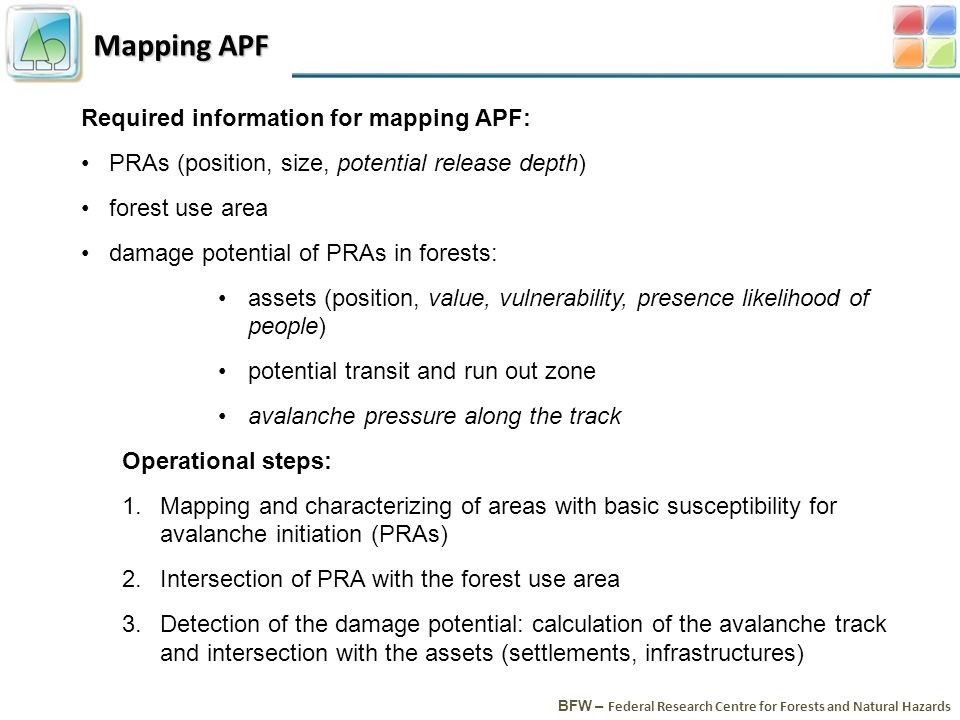 Mapping APF BFW – Federal Research Centre for Forests and Natural Hazards Required information for mapping APF: PRAs (position, size, potential release depth) forest use area damage potential of PRAs in forests: assets (position, value, vulnerability, presence likelihood of people) potential transit and run out zone avalanche pressure along the track Operational steps: 1.Mapping and characterizing of areas with basic susceptibility for avalanche initiation (PRAs) 2.Intersection of PRA with the forest use area 3.Detection of the damage potential: calculation of the avalanche track and intersection with the assets (settlements, infrastructures)