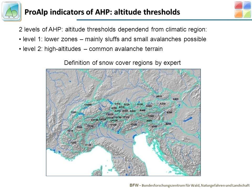 ProAlp indicators of AHP: altitude thresholds BFW - Bundesforschungszentrum für Wald, Naturgefahren und Landschaft 2 levels of AHP: altitude threshold