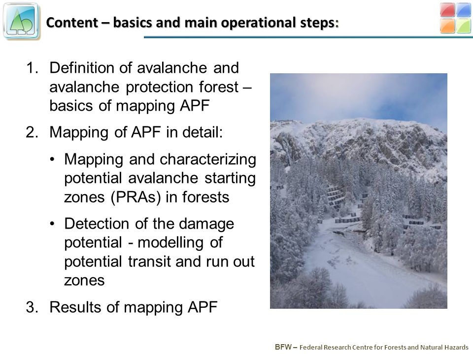 Content – basics and main operational steps: BFW – Federal Research Centre for Forests and Natural Hazards 1.Definition of avalanche and avalanche protection forest – basics of mapping APF 2.Mapping of APF in detail: Mapping and characterizing potential avalanche starting zones (PRAs) in forests Detection of the damage potential - modelling of potential transit and run out zones 3.Results of mapping APF