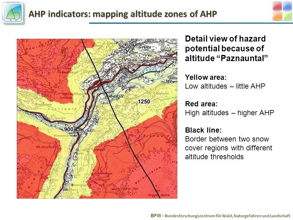 AHP indicators: mapping altitude zones of AHP BFW - Bundesforschungszentrum für Wald, Naturgefahren und Landschaft Detail view of hazard potential bec