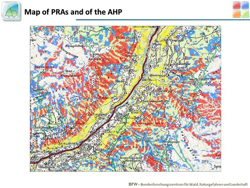 Map of PRAs and of the AHP BFW - Bundesforschungszentrum für Wald, Naturgefahren und Landschaft