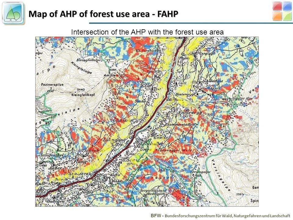 Map of AHP of forest use area - FAHP BFW - Bundesforschungszentrum für Wald, Naturgefahren und Landschaft Intersection of the AHP with the forest use