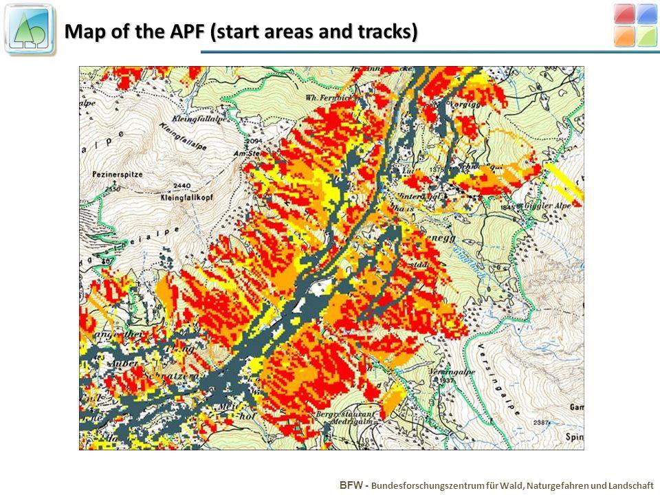 Map of the APF (start areas and tracks) BFW - Bundesforschungszentrum für Wald, Naturgefahren und Landschaft