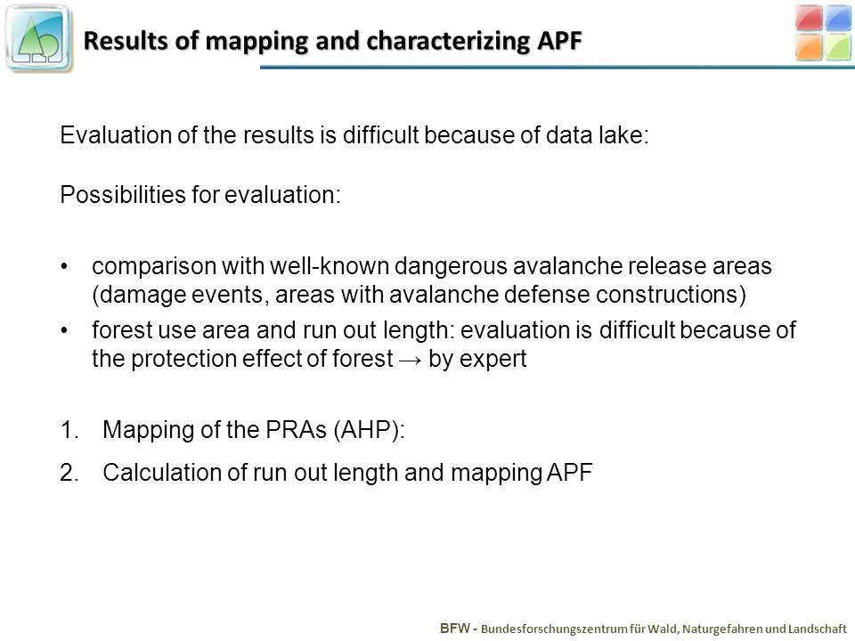 Results of mapping and characterizing APF BFW - Bundesforschungszentrum für Wald, Naturgefahren und Landschaft Evaluation of the results is difficult because of data lake: Possibilities for evaluation: comparison with well-known dangerous avalanche release areas (damage events, areas with avalanche defense constructions) forest use area and run out length: evaluation is difficult because of the protection effect of forest by expert 1.Mapping of the PRAs (AHP): 2.Calculation of run out length and mapping APF