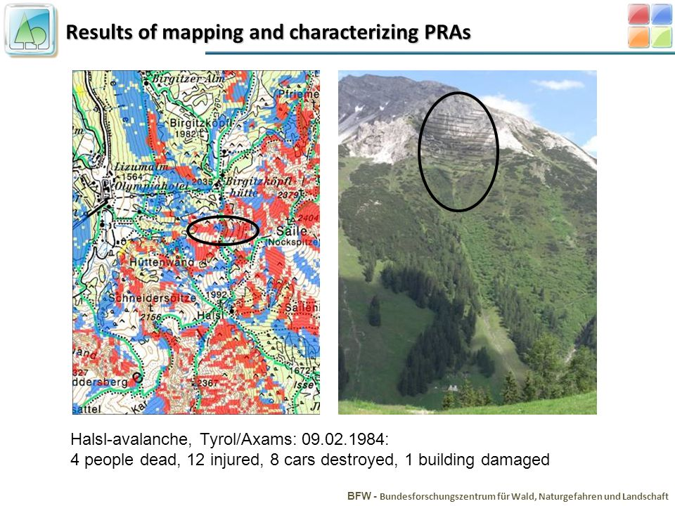 Results of mapping and characterizing PRAs BFW - Bundesforschungszentrum für Wald, Naturgefahren und Landschaft Halsl-avalanche, Tyrol/Axams: 09.02.1984: 4 people dead, 12 injured, 8 cars destroyed, 1 building damaged