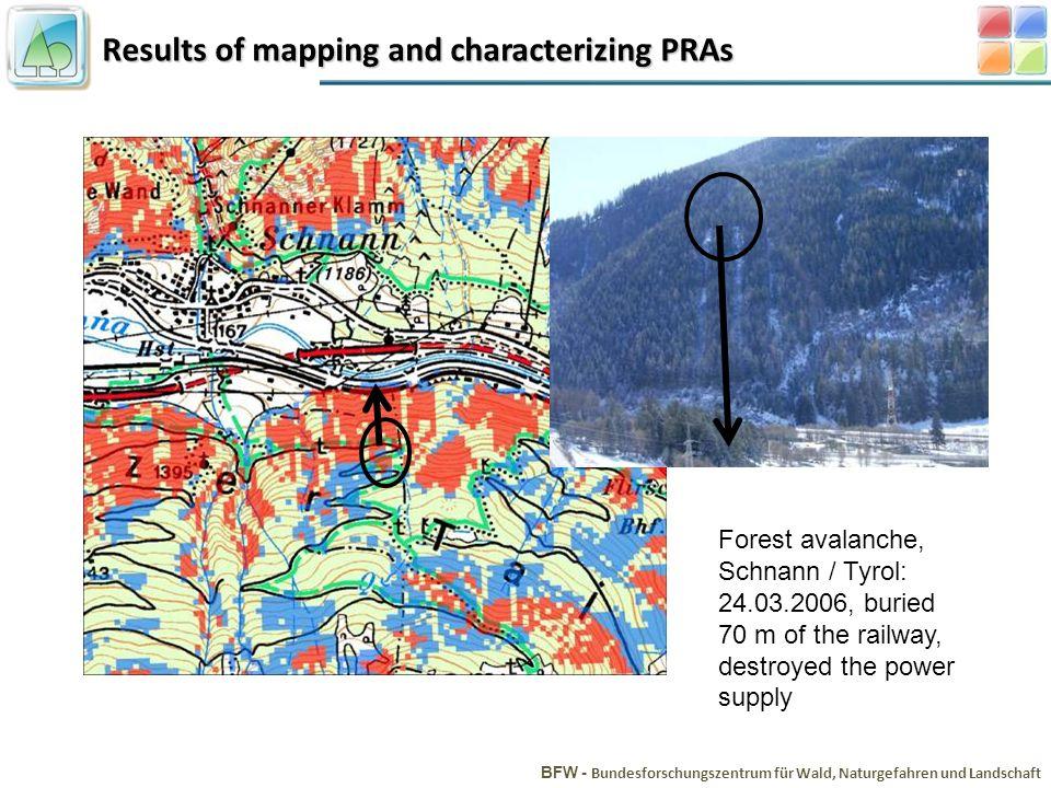Results of mapping and characterizing PRAs BFW - Bundesforschungszentrum für Wald, Naturgefahren und Landschaft Forest avalanche, Schnann / Tyrol: 24.03.2006, buried 70 m of the railway, destroyed the power supply