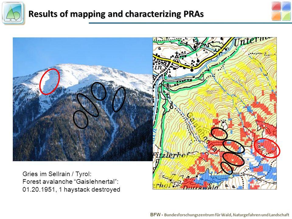 Results of mapping and characterizing PRAs BFW - Bundesforschungszentrum für Wald, Naturgefahren und Landschaft Gries im Sellrain / Tyrol: Forest avalanche Gaislehnertal: 01.20.1951, 1 haystack destroyed
