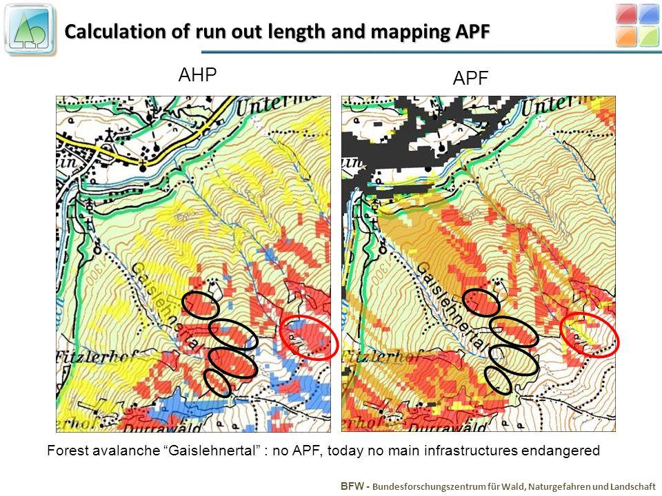 Calculation of run out length and mapping APF BFW - Bundesforschungszentrum für Wald, Naturgefahren und Landschaft Forest avalanche Gaislehnertal : no