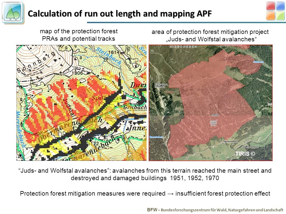 Calculation of run out length and mapping APF BFW - Bundesforschungszentrum für Wald, Naturgefahren und Landschaft Juds- and Wolfstal avalanches: aval