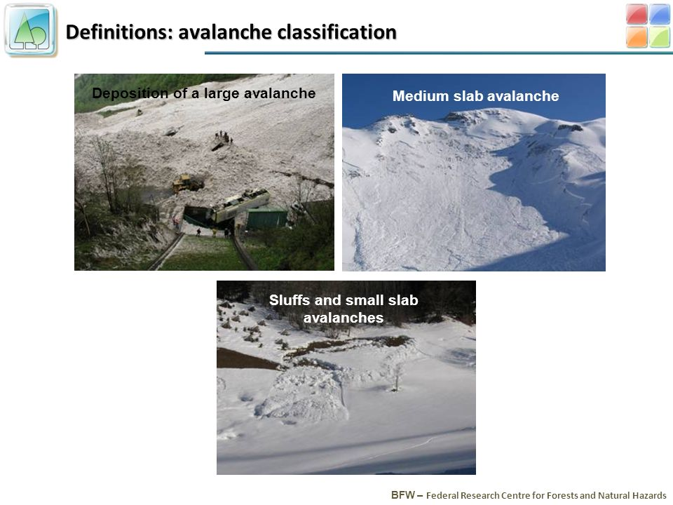 Definitions: avalanche classification BFW – Federal Research Centre for Forests and Natural Hazards Deposition of a large avalanche Sluffs and small slab avalanches Medium slab avalanche