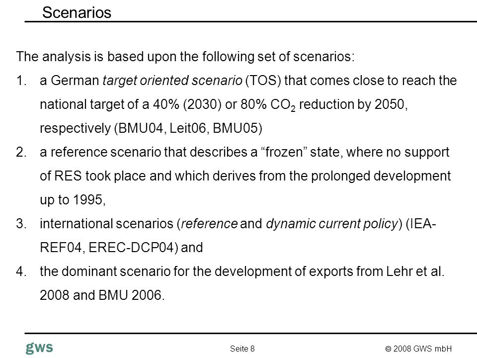 2008 GWS mbH Seite 19 gws PANTA RHEI – macro-econometric model Demand (consumption, Exports, Investment) Input demand ProductionImports energy prices Prices from production added value & employment Productivity income wages