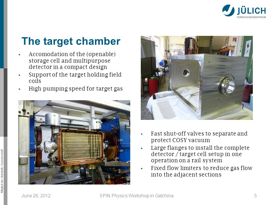 Mitglied der Helmholtz-Gemeinschaft June 26, 2012SPIN Physics Workshop in Gatchina5 The target chamber Accomodation of the (openable) storage cell and multipurpose detector in a compact design Support of the target holding field coils High pumping speed for target gas Fast shut-off valves to separate and protect COSY vacuum Large flanges to install the complete detector / target cell setup in one operation on a rail system Fixed flow limiters to reduce gas flow into the adjacent sections