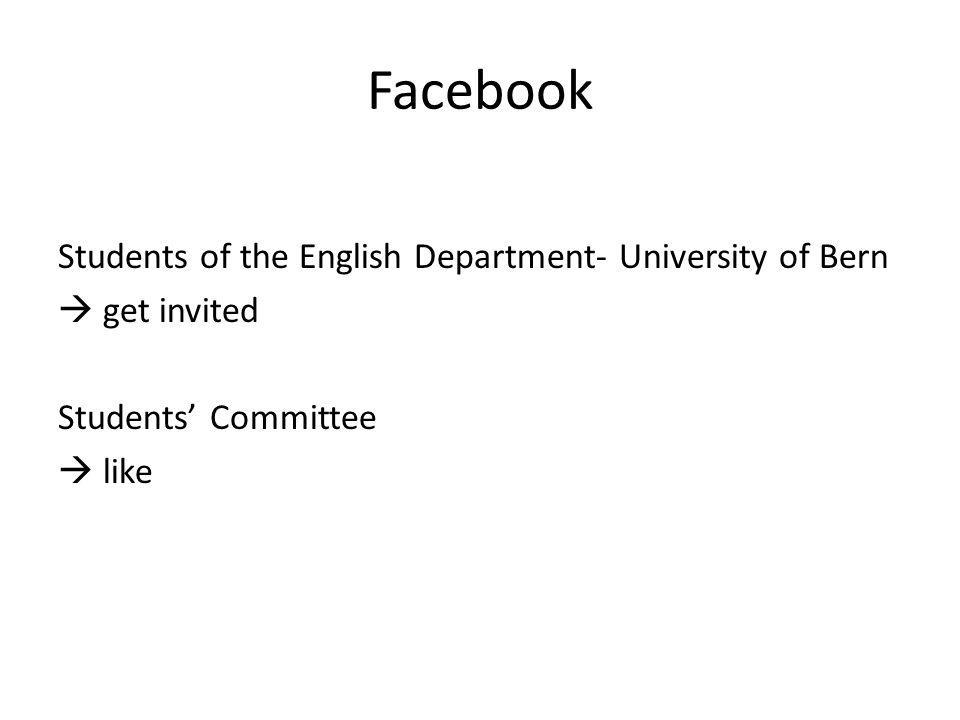 Facebook Students of the English Department- University of Bern get invited Students Committee like