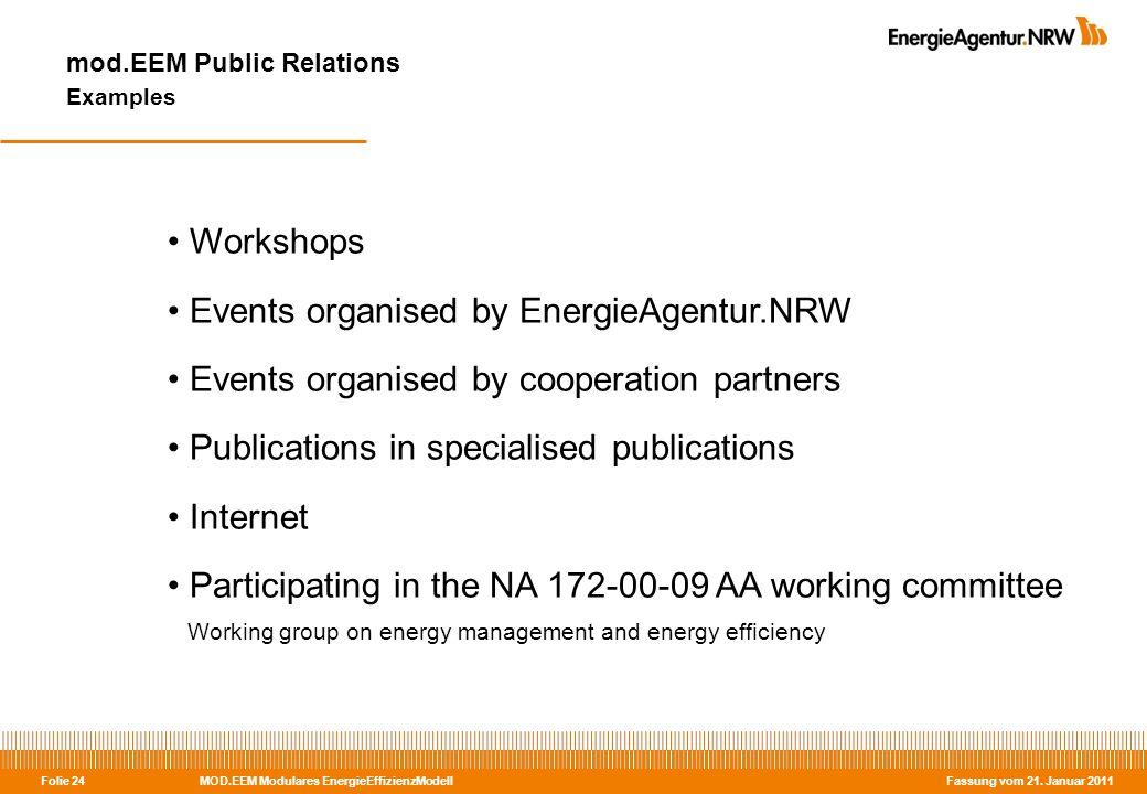 MOD.EEM Modulares EnergieEffizienzModell Fassung vom 21. Januar 2011 Folie 24 mod.EEM Public Relations Examples Workshops Events organised by EnergieA
