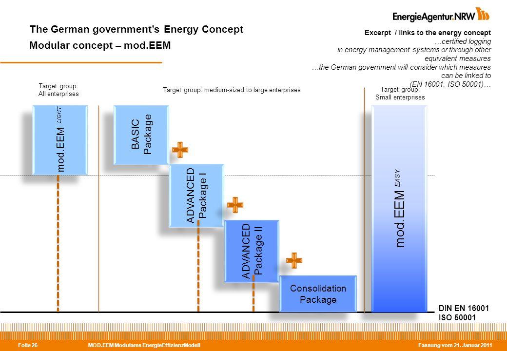 MOD.EEM Modulares EnergieEffizienzModell Fassung vom 21. Januar 2011 Folie 26 The German governments Energy Concept Modular concept – mod.EEM Excerpt