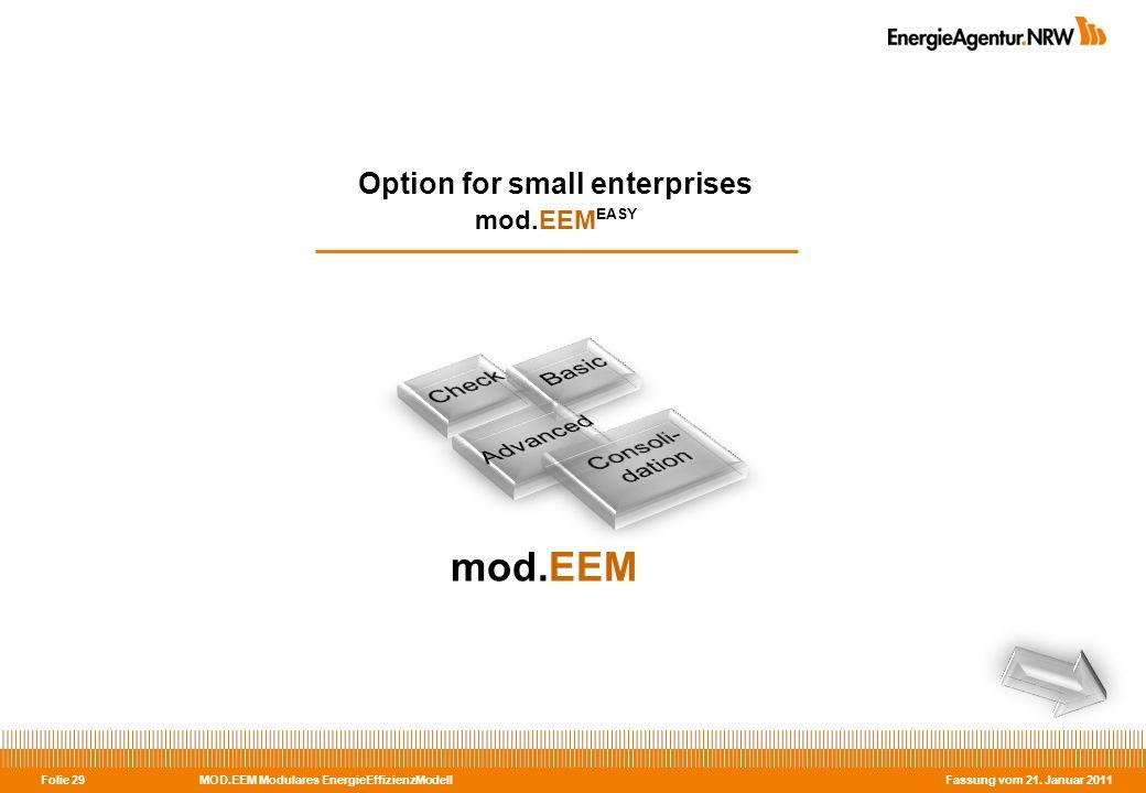 MOD.EEM Modulares EnergieEffizienzModell Fassung vom 21. Januar 2011 Folie 29 Option for small enterprises mod.EEM EASY mod.EEM
