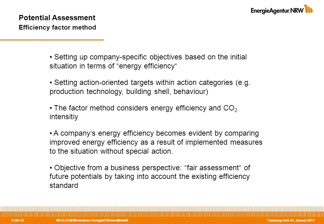 MOD.EEM Modulares EnergieEffizienzModell Fassung vom 21. Januar 2011 Folie 32 Potential Assessment Efficiency factor method Setting up company-specifi