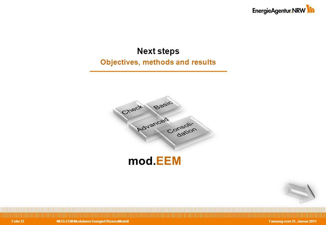 MOD.EEM Modulares EnergieEffizienzModell Fassung vom 21. Januar 2011 Folie 33 Next steps Objectives, methods and results mod.EEM