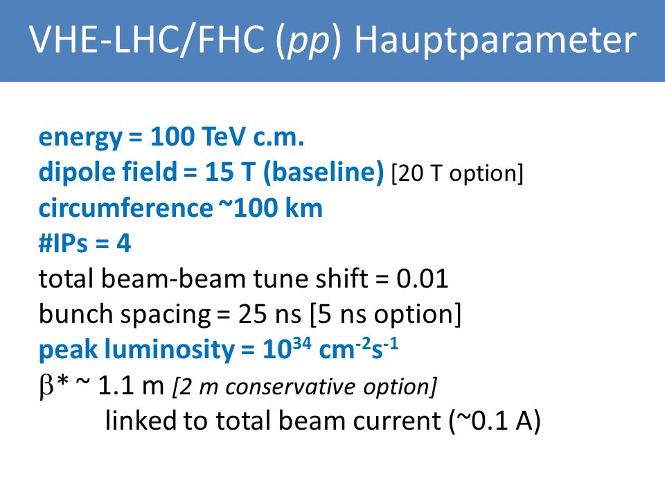 Main Parameters for FHC (VHE-LHC) energy = 100 TeV c.m.