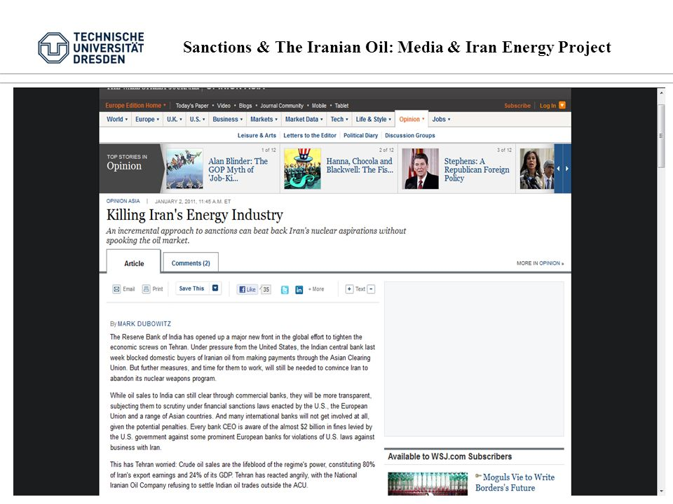Sanctions & The Iranian Oil: Media & Iran Energy Project 10 von 16