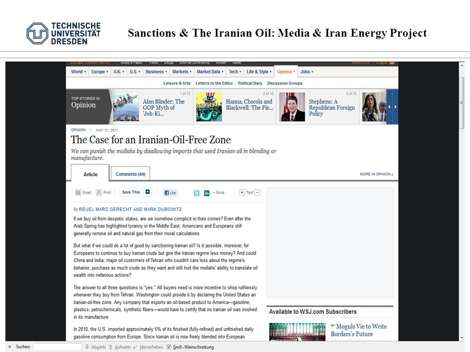 Sanctions & The Iranian Oil: Media & Iran Energy Project 11 von 16