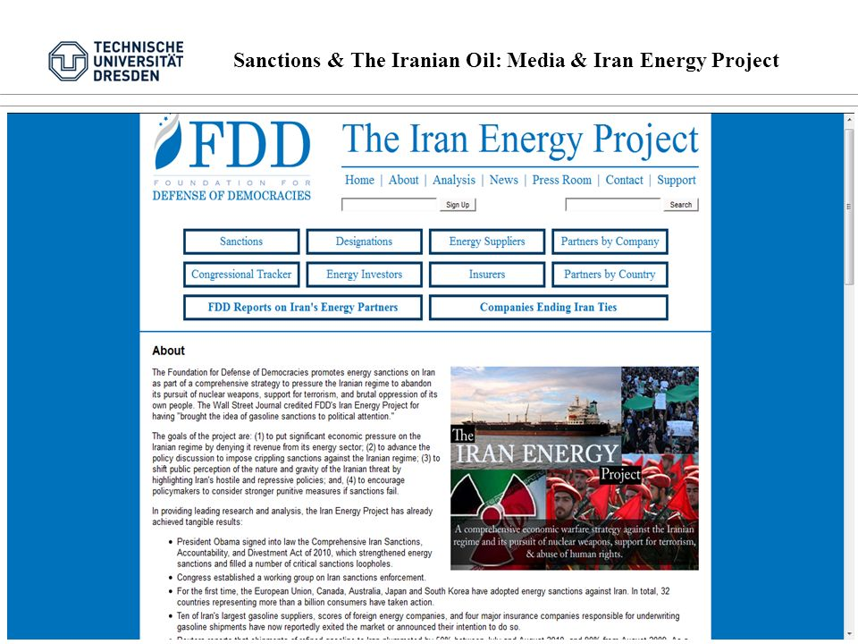 Sanctions & The Iranian Oil: Media & Iran Energy Project 9 von 16