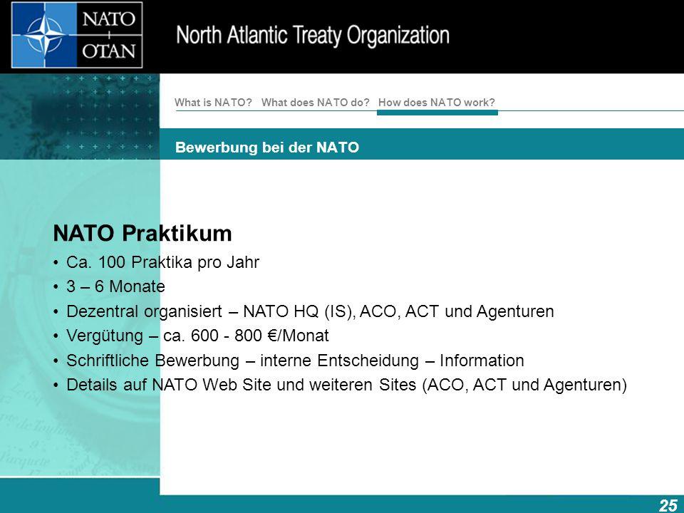 How does NATO work? 25 What is NATO? What does NATO do? Bewerbung bei der NATO NATO Praktikum Ca. 100 Praktika pro Jahr 3 – 6 Monate Dezentral organis