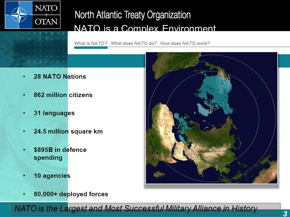 How does NATO work? 3 What is NATO? What does NATO do? NATO is a Complex Environment 28 NATO Nations 862 million citizens 31 languages 24.5 million sq