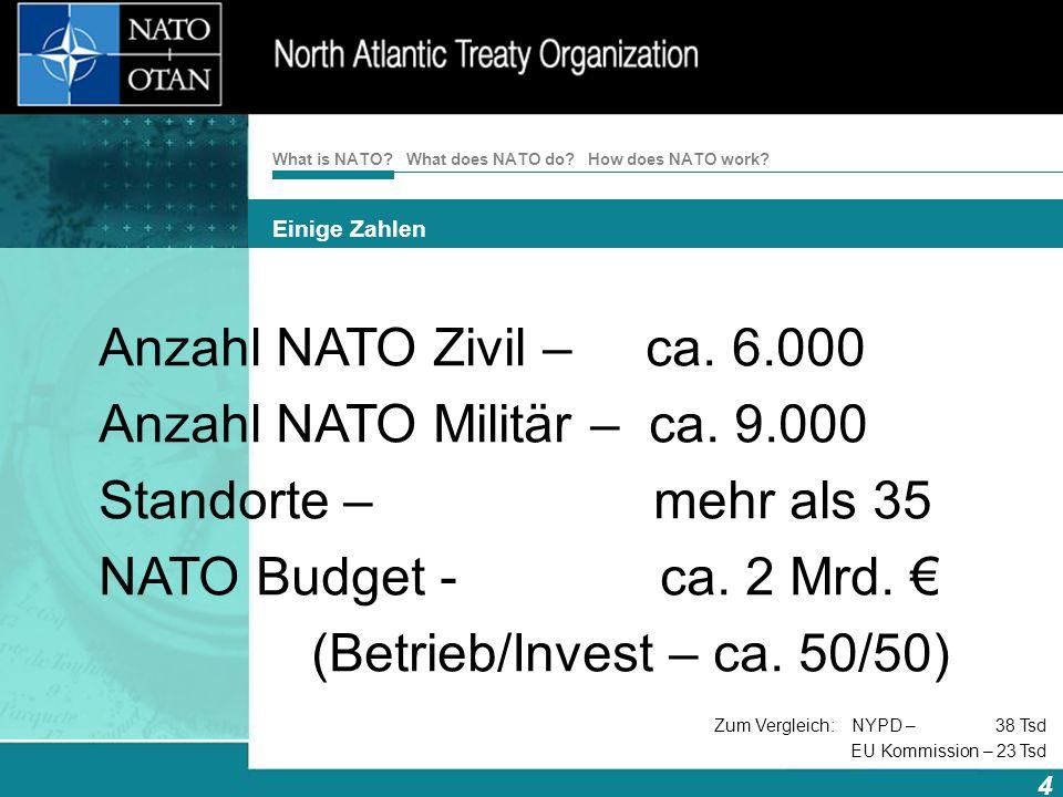 How does NATO work? 4 What is NATO? What does NATO do? Einige Zahlen Anzahl NATO Zivil – ca. 6.000 Anzahl NATO Militär – ca. 9.000 Standorte – mehr al