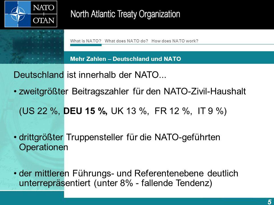 How does NATO work? 5 What is NATO? What does NATO do? Mehr Zahlen – Deutschland und NATO Deutschland ist innerhalb der NATO... zweitgrößter Beitragsz