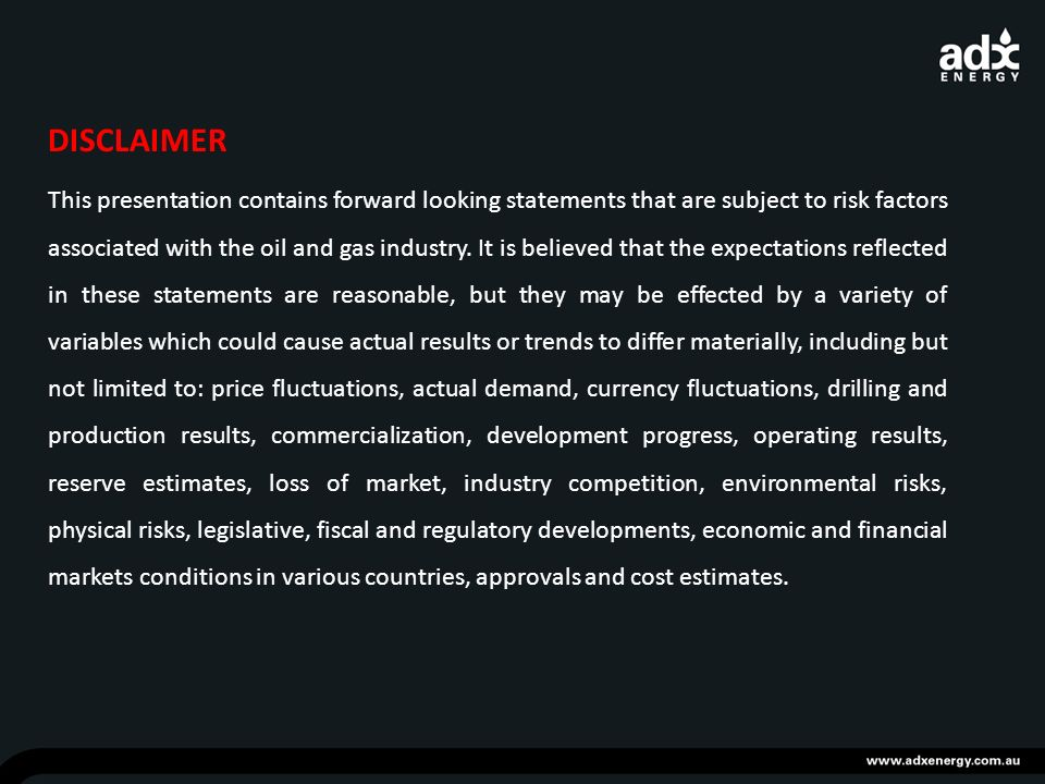 DISCLAIMER This presentation contains forward looking statements that are subject to risk factors associated with the oil and gas industry.