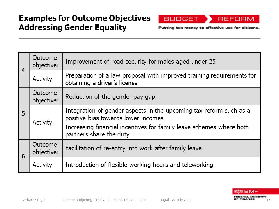 Examples for Outcome Objectives Addressing Gender Equality 4 Outcome objective: Improvement of road security for males aged under 25 Activity: Preparation of a law proposal with improved training requirements for obtaining a drivers license 5 Outcome objective: Reduction of the gender pay gap Activity: Integration of gender aspects in the upcoming tax reform such as a positive bias towards lower incomes Increasing financial incentives for family leave schemes where both partners share the duty 6 Outcome objective: Facilitation of re-entry into work after family leave Activity:Introduction of flexible working hours and teleworking 16Gerhard StegerGender Budgeting – The Austrian Federal ExperienceKigali, 27 July 2011