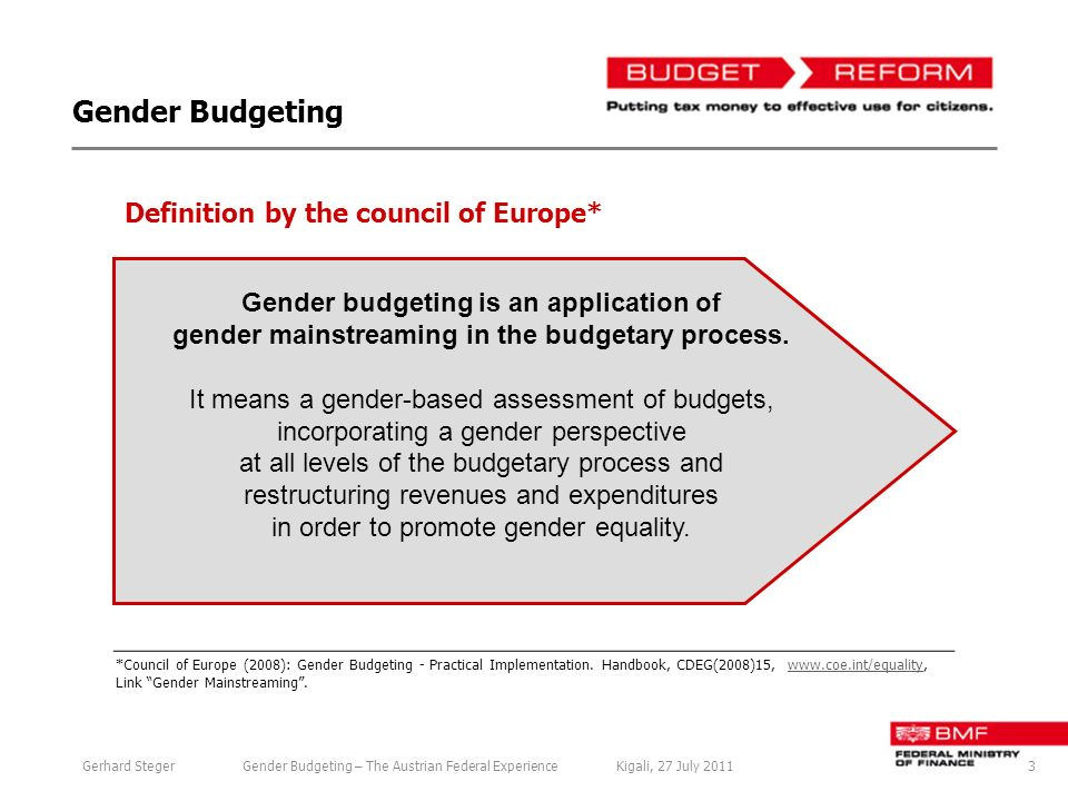 Gender Budgeting *Council of Europe (2008): Gender Budgeting - Practical Implementation.