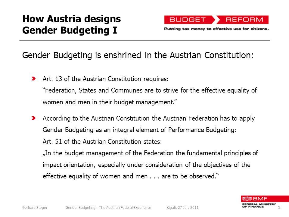 How Austria designs Gender Budgeting I Art.