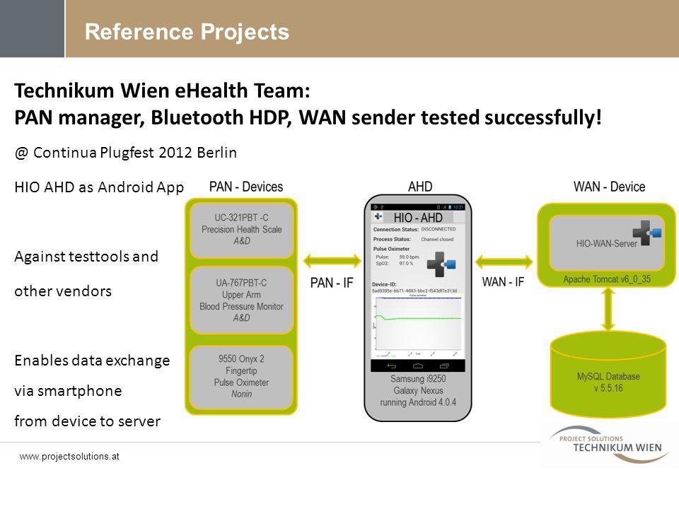 Technikum Wien eHealth Team: PAN manager, Bluetooth HDP, WAN sender tested successfully! @ Continua Plugfest 2012 Berlin HIO AHD as Android App Agains