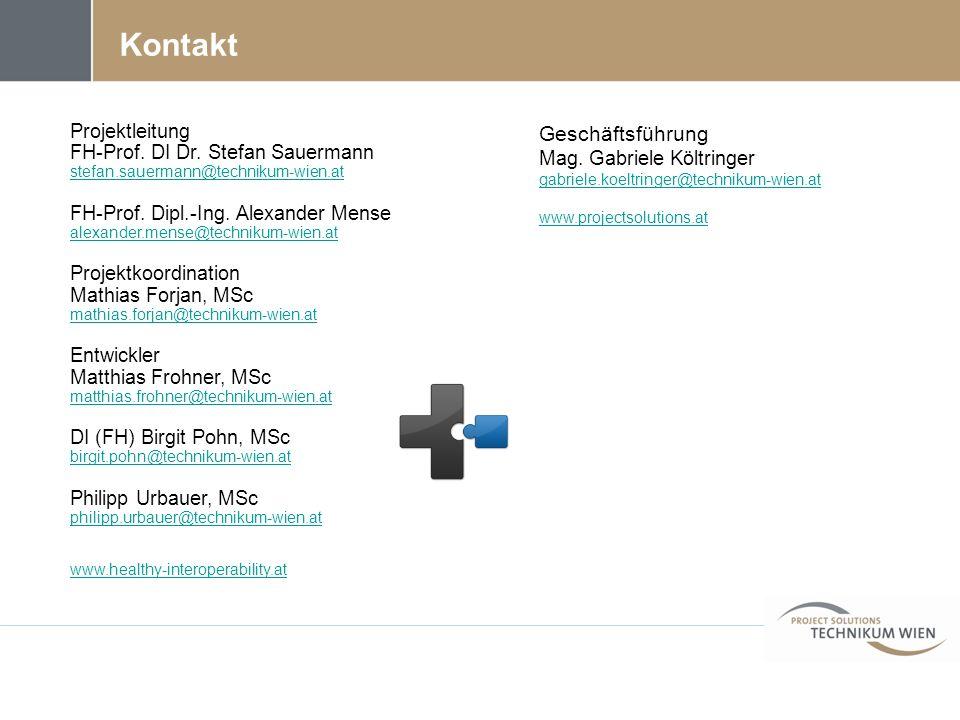 Kontakt Projektleitung FH-Prof. DI Dr. Stefan Sauermann stefan.sauermann@technikum-wien.at FH-Prof. Dipl.-Ing. Alexander Mense alexander.mense@technik