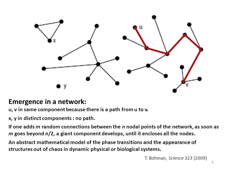 Emergence in a network: u, v in same component because there is a path from u to v.