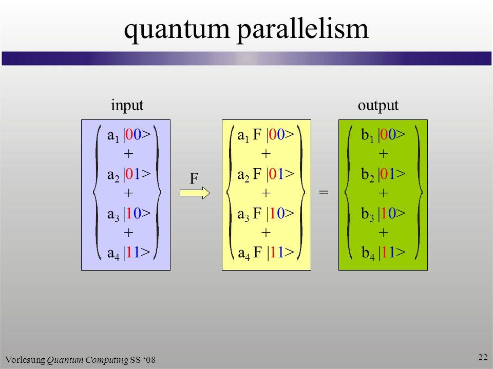 Vorlesung Quantum Computing SS 08 22 quantum parallelism a 1 F |00> + a 2 F |01> + a 3 F |10> + a 4 F |11> a 1 |00> + a 2 |01> + a 3 |10> + a 4 |11> input b 1 |00> + b 2 |01> + b 3 |10> + b 4 |11> = output F