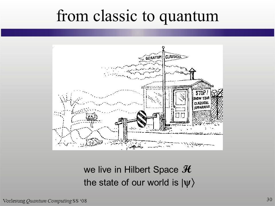 Vorlesung Quantum Computing SS from classic to quantum we live in Hilbert Space H the state of our world is |