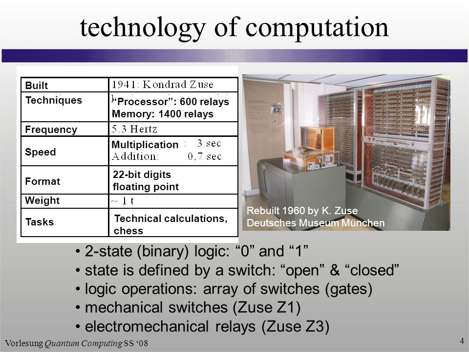 Vorlesung Quantum Computing SS 08 4 technology of computation 2-state (binary) logic: 0 and 1 state is defined by a switch: open & closed logic operations: array of switches (gates) mechanical switches (Zuse Z1) electromechanical relays (Zuse Z3) Rebuilt 1960 by K.