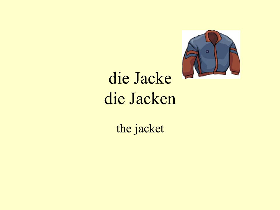die Jacke die Jacken the jacket