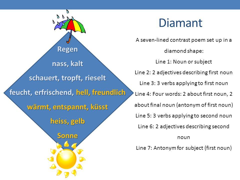 Diamant A seven-lined contrast poem set up in a diamond shape: Line 1: Noun or subject Line 2: 2 adjectives describing first noun Line 3: 3 verbs applying to first noun Line 4: Four words: 2 about first noun, 2 about final noun (antonym of first noun) Line 5: 3 verbs applying to second noun Line 6: 2 adjectives describing second noun Line 7: Antonym for subject (first noun) Regen nass, kalt schauert, tropft, rieselt feucht, erfrischend, hell, freundlich wärmt, entspannt, küsst heiss, gelb Sonne