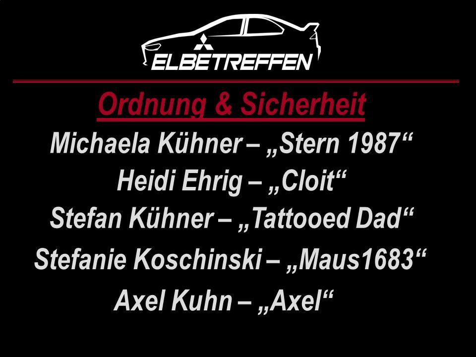 Ordnung & Sicherheit Michaela Kühner – Stern 1987 Heidi Ehrig – Cloit Stefan Kühner – Tattooed Dad Stefanie Koschinski – Maus1683 Axel Kuhn – Axel