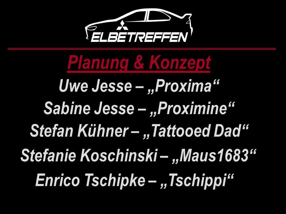 Planung & Konzept Uwe Jesse – Proxima Sabine Jesse – Proximine Stefan Kühner – Tattooed Dad Stefanie Koschinski – Maus1683 Enrico Tschipke – Tschippi