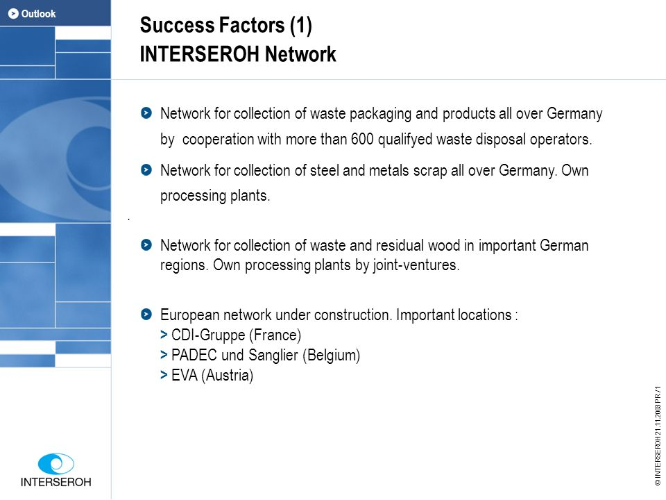 Success Factors (1) INTERSEROH Network Network for collection of waste packaging and products all over Germany by cooperation with more than 600 qualifyed waste disposal operators.