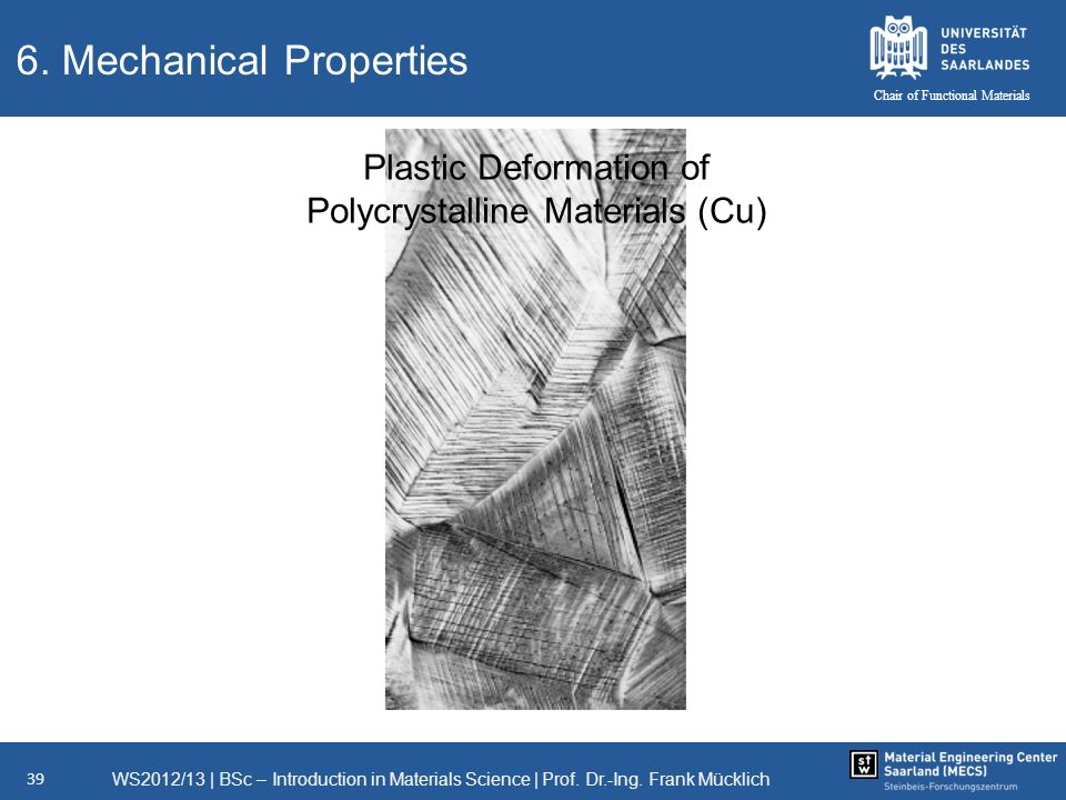 WS2012/13   BSc – Introduction in Materials Science   Prof. Dr.-Ing. Frank Mücklich 39 Chair of Functional Materials 6. Mechanical Properties Plastic