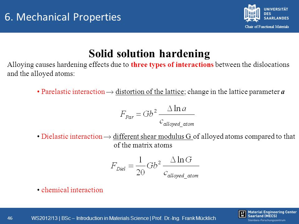 WS2012/13   BSc – Introduction in Materials Science   Prof. Dr.-Ing. Frank Mücklich 46 Chair of Functional Materials Solid solution hardening Alloying